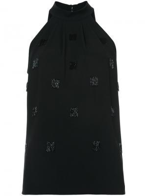 Блузка без рукавов с отделкой Elizabeth And James. Цвет: чёрный