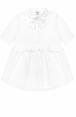 Хлопковая блуза свободного кроя с оборкой и бантом Aletta. Цвет: белый