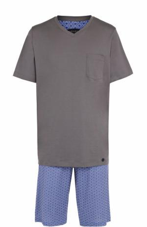 Хлопковая пижама с шортами Hanro. Цвет: синий