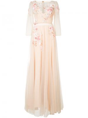 Длинное платье с цветочной вышивкой Marchesa Notte. Цвет: телесный