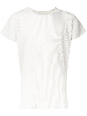 Плиссированная рубашка с короткими рукавами Homme Plissé Issey Miyake. Цвет: белый