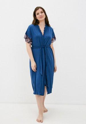 Халат и сорочка ночная Rene Santi. Цвет: синий