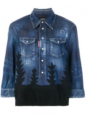 Джинсовая рубашка Forest с рваными деталями Dsquared2. Цвет: синий