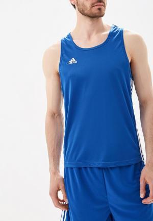 Майка спортивная adidas Combat. Цвет: синий