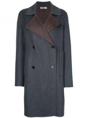 Двубортное пальто Jil Sander. Цвет: синий