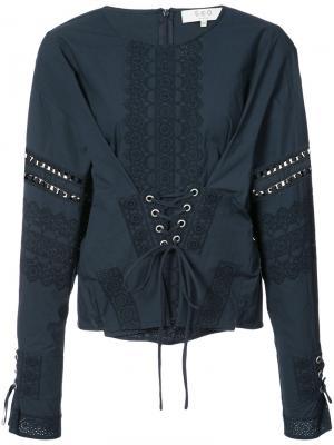 Блузка с декоративным корсетом Sea. Цвет: синий