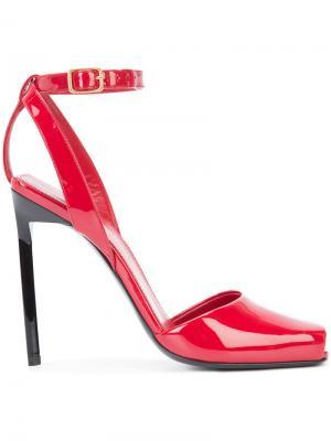 Босоножки с открытым носком Edie 110 Saint Laurent. Цвет: красный