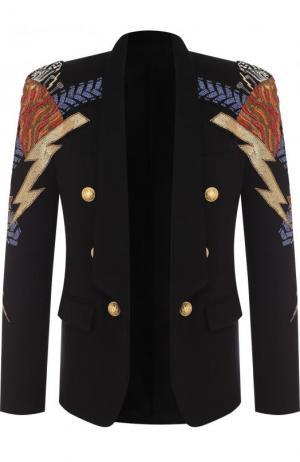 Хлопковый блейзер с контрастной вышивкой Balmain. Цвет: черный