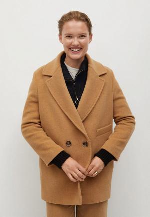 Пальто Mango. Цвет: коричневый
