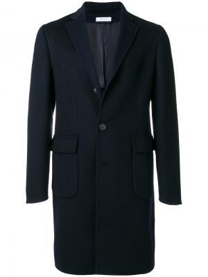 Классическое однобортное пальто Boglioli. Цвет: синий