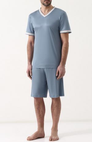 Пижама с шортами и футболкой Zimmerli. Цвет: синий