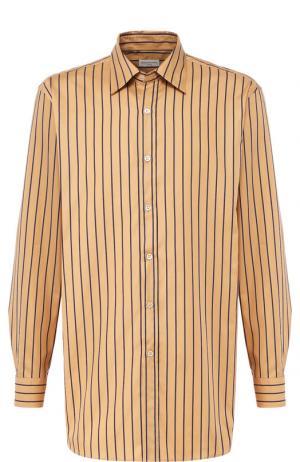 Хлопковая рубашка с воротником кент Dries Van Noten. Цвет: бежевый
