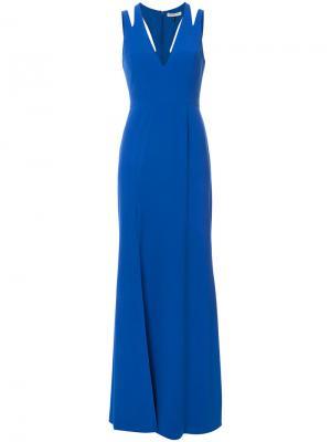 Платье макси с вырезными деталями Halston Heritage. Цвет: синий
