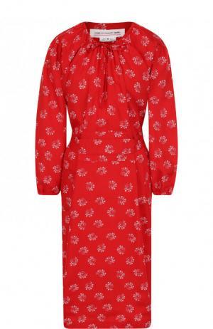 Приталенное платье-миди из вискозы Comme des Garcons GIRL. Цвет: красный
