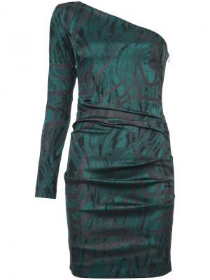 Мини-платье с открытым плечом Nicole Miller. Цвет: зелёный