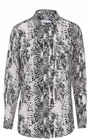Шелковая блуза прямого кроя с накладными карманами Equipment. Цвет: черно-белый