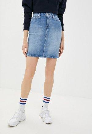 Юбка джинсовая Tommy Hilfiger. Цвет: голубой