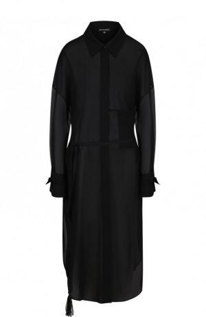 Хлопковое платье-миди с поясом Ann Demeulemeester. Цвет: черный