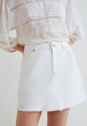 Юбка джинсовая Mango. Цвет: белый