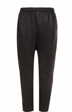 Укороченные кожаные брюки с эластичным поясом DROMe. Цвет: черный