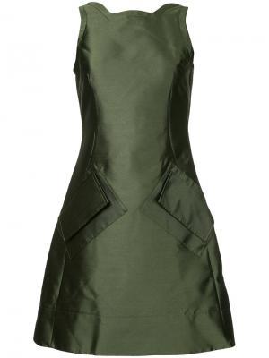 Приталенное платье симметричного кроя Antonio Berardi. Цвет: зелёный