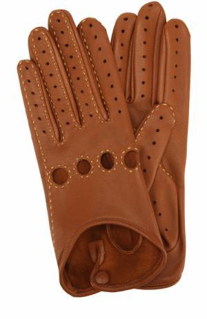 Кожаные перчатки с прострочкой Agnelle. Цвет: коричневый
