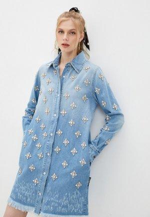 Платье джинсовое Marco Bologna. Цвет: голубой