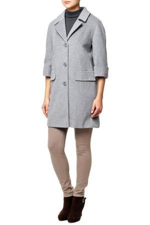 Пальто шерстяное Le Monique. Цвет: серый
