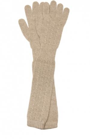 Удлиненные перчатки из кашемира Kashja` Cashmere. Цвет: бежевый