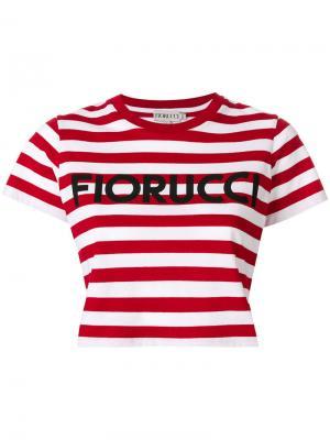 Полосатая укороченная футболка Fiorucci. Цвет: красный