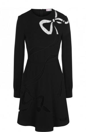 Многослойное платье-бюстье на тонких бретельках REDVALENTINO. Цвет: черный