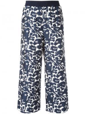 Укороченные брюки с цветочным принтом IM Isola Marras I'M. Цвет: синий