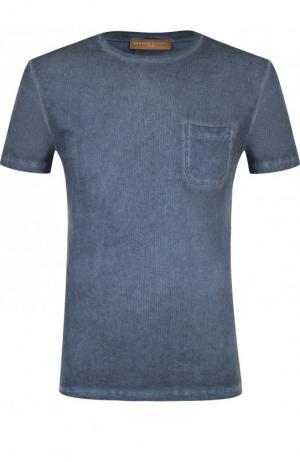 Хлопковая футболка с круглым вырезом Daniele Fiesoli. Цвет: голубой