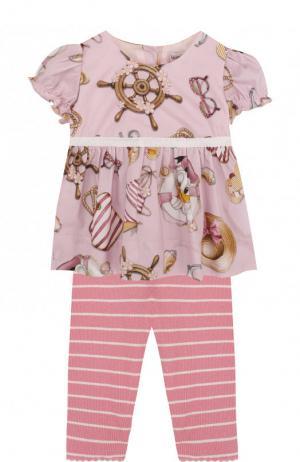 Хлопковый комплект из блузы и леггинсов Monnalisa. Цвет: розовый