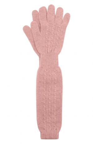 Удлиненные перчатки из кашемира Kashja` Cashmere. Цвет: розовый