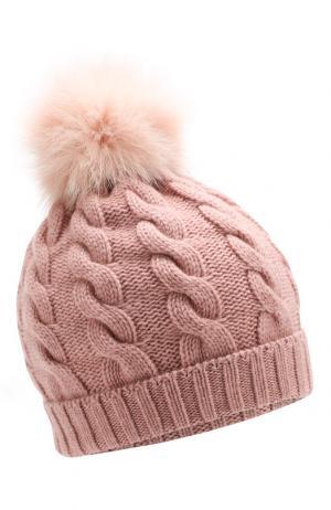 Кашемировая шапка с меховым помпоном Kashja` Cashmere. Цвет: розовый