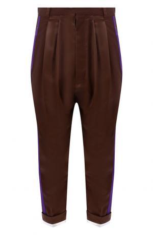 Укороченные брюки из смеси вискозы и шелка Haider Ackermann. Цвет: коричневый