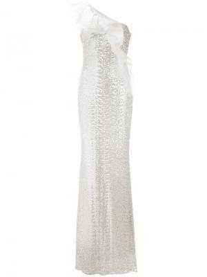Платье на одно плечо с пайетками Badgley Mischka. Цвет: телесный