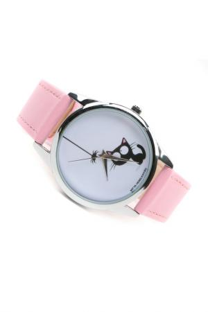 Часы Кошка и паучок MITYA VESELKOV. Цвет: розовый