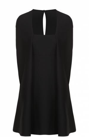 Мини-платье с квадратным вырезом и кейпом Valentino. Цвет: черный