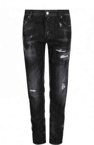 Укороченные джинсы с потертостями Dsquared2. Цвет: черный