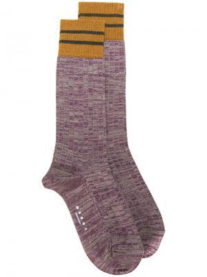 Носки с контрастным дизайном Marni. Цвет: розовый и фиолетовый