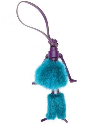 Брелок для ключей с помпонами Elena Ghisellini. Цвет: розовый и фиолетовый