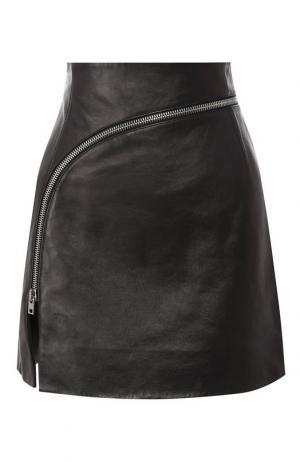 Кожаная мини-юбка на молнии Alexander Wang. Цвет: черный