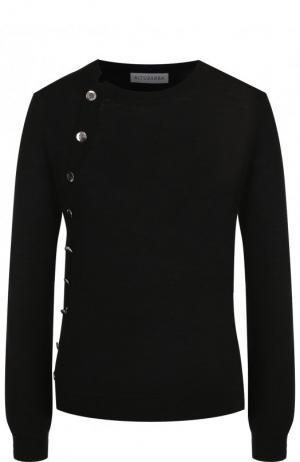 Шерстяной пуловер с контрастными пуговицами Altuzarra. Цвет: черный