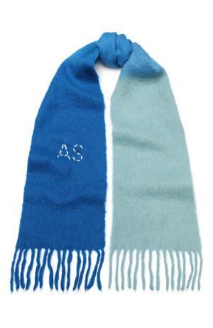 Шерстяной шарф с бахромой Acne Studios. Цвет: голубой