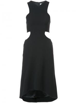 Мини-платье без рукавов с вырезами на талии Halston Heritage. Цвет: чёрный