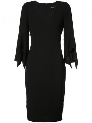 Приталенное платье с оборками Badgley Mischka. Цвет: чёрный