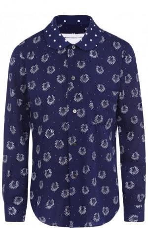 Блуза из вискозы с принтом Comme des Garcons GIRL. Цвет: синий
