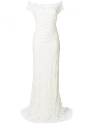 Свадебное платье со спущенными плечами Olvi´S. Цвет: телесный